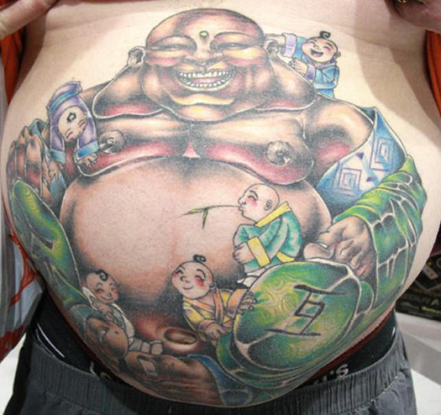 Brilliant Black Blue And Green Color Ink Buddha Tattoo On Belly For Boys
