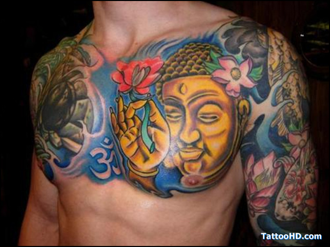 Brilliant Blue Yellow Black And Red Color Ink Buddha Holding Rose Tattoo On Chest For Boys