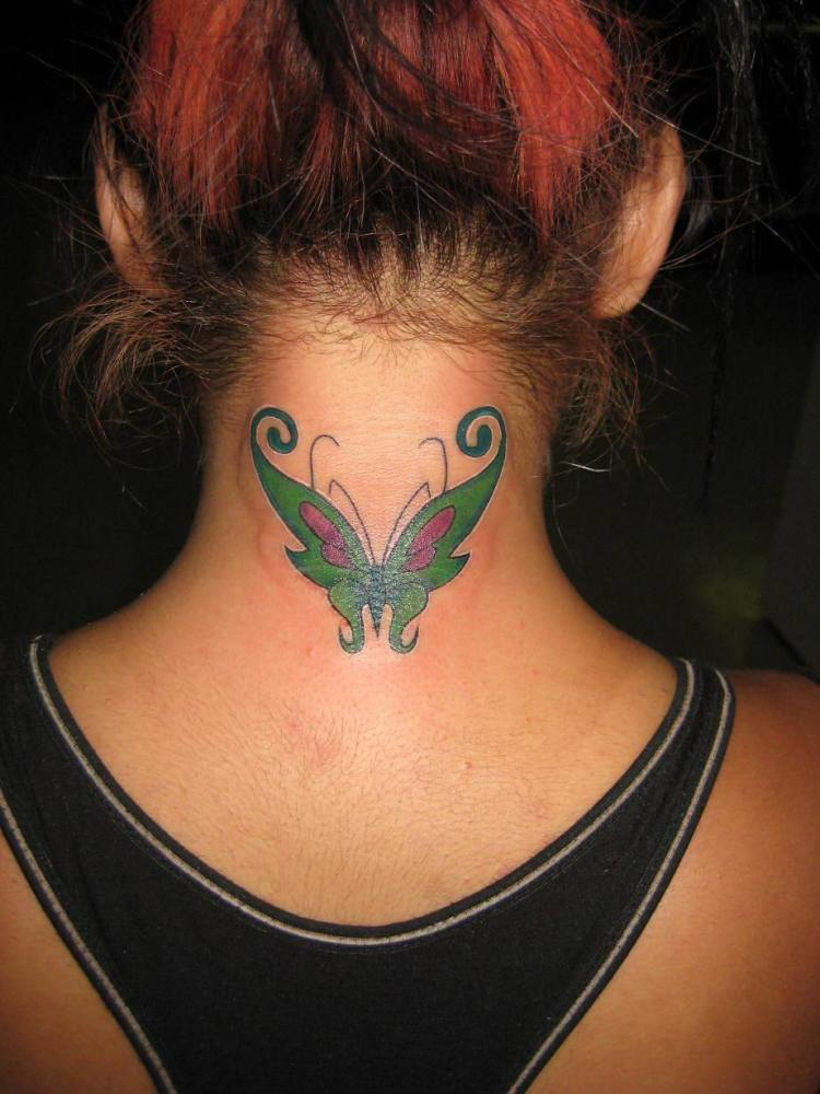 Brilliant Green Black And Red Color Ink Butterfly Tattoo On Neck Back For Girls