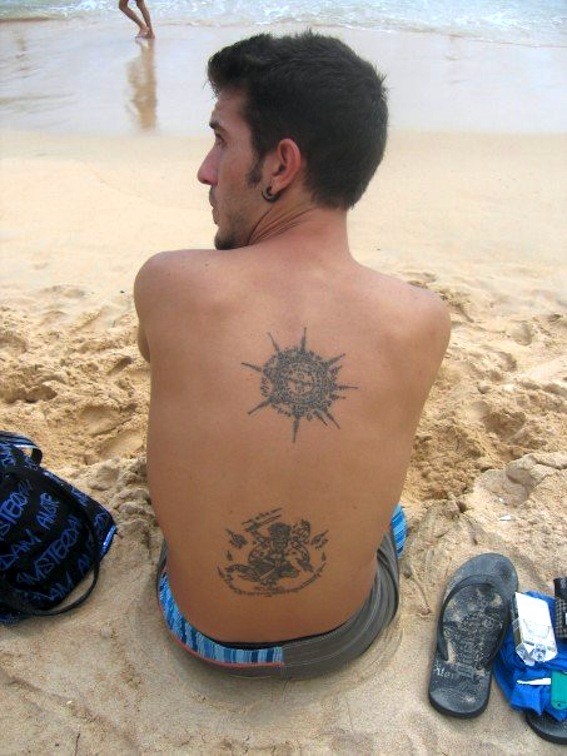 Brilliant Grey Color Ink Buddhist Tattoo Design On Back For Man Only