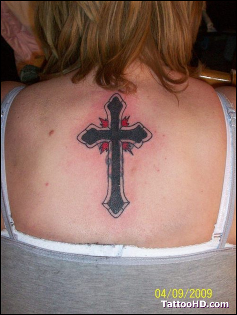 Brilliant Red And Black Color Ink Christian Cross Tattoo Designs For Girls