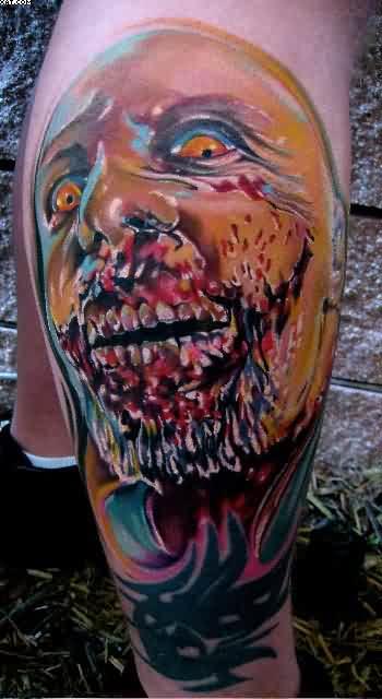 Cartoon Scary Zombie Tattoo On Leg