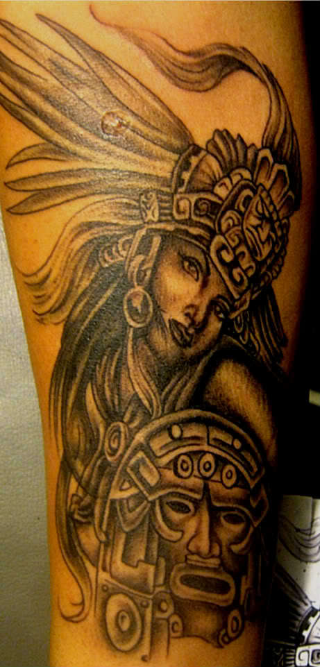 Charming Black And Golden Color Ink Aztec Girl Tattoo Design On Arm For Girls