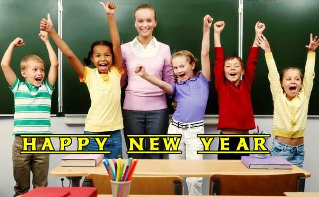Children Wishes Happy New Year To Everyone Image
