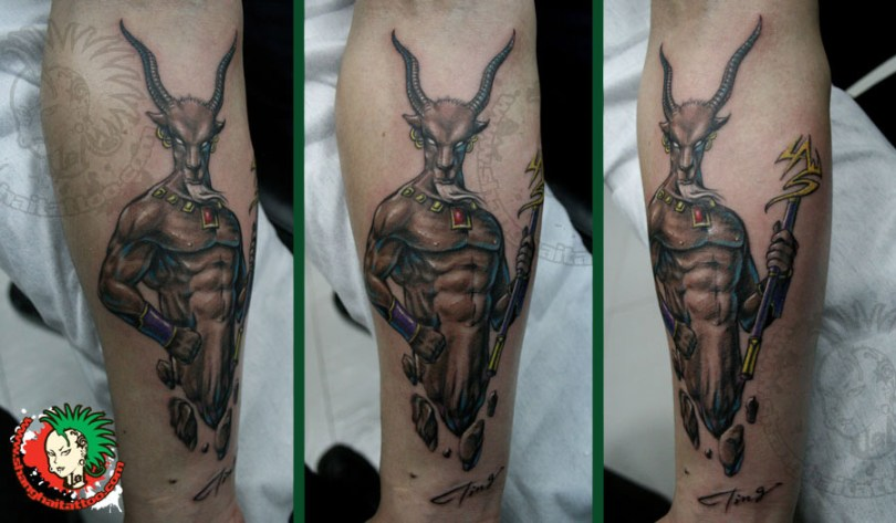 Cool Black And Brown Color Ink Capricorn Tattoo Image On Arm For Girls
