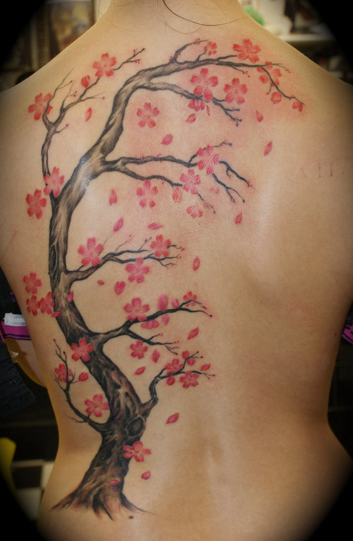 Cool Black And Red Color Ink Cherry Blossom Backpiece Tattoo Design On Back For Girls