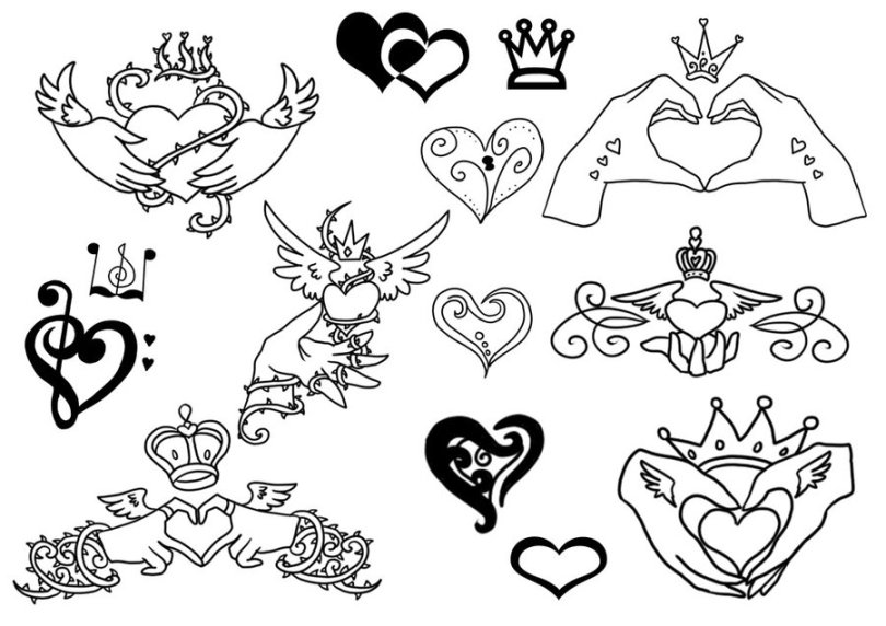 Cool Black And White Color Ink Claddagh Tattoo Designs For Girls
