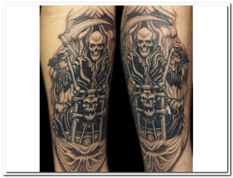 Cool Black Color Ink Skeleton Bikes Tattoo Design On Arm For Boys