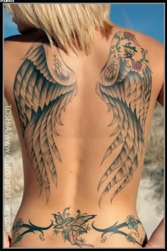 Cool Grey Color Ink Tattoo Design Of Angel Wings On Back Side For Girls Angel Tattoos