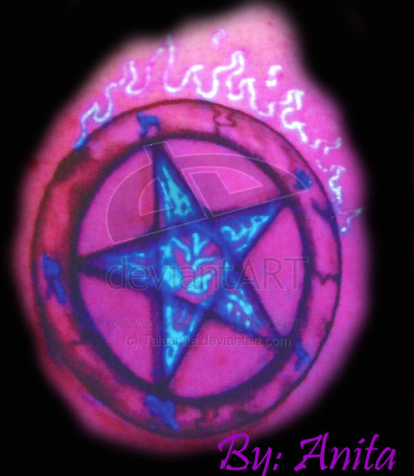 Cool Red And Green Color Light Pentagram Blacklight Tattoo Design For Boys Tattoo