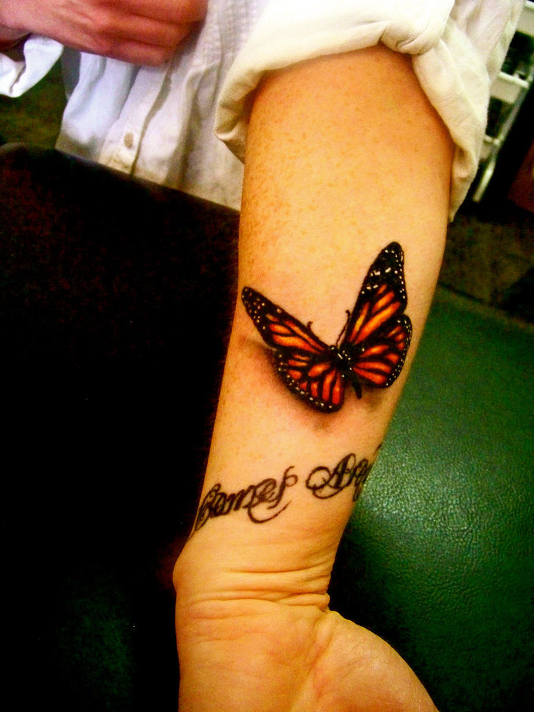 Coolest Black And Red Color Ink 3D Butterfly Tattoo On Forearm On Arm For Girls