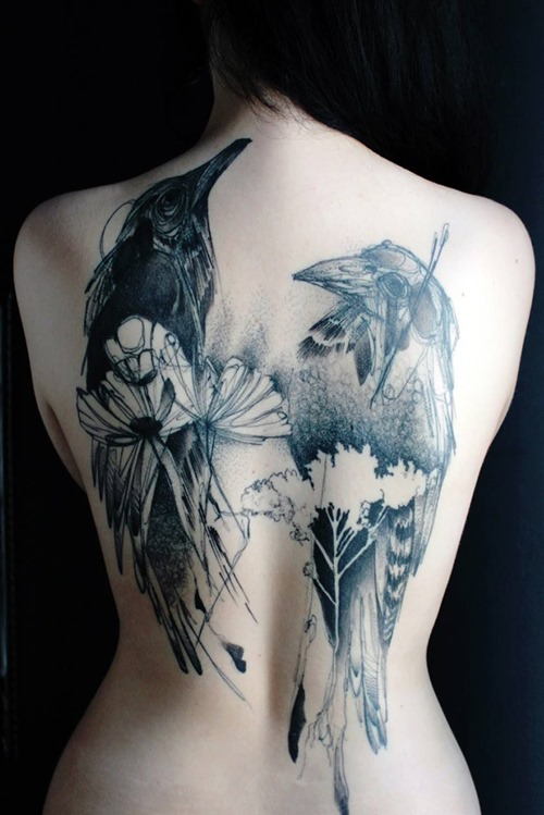 Coolest Black Color Ink Crow Tattoos On Topless Back For Girls
