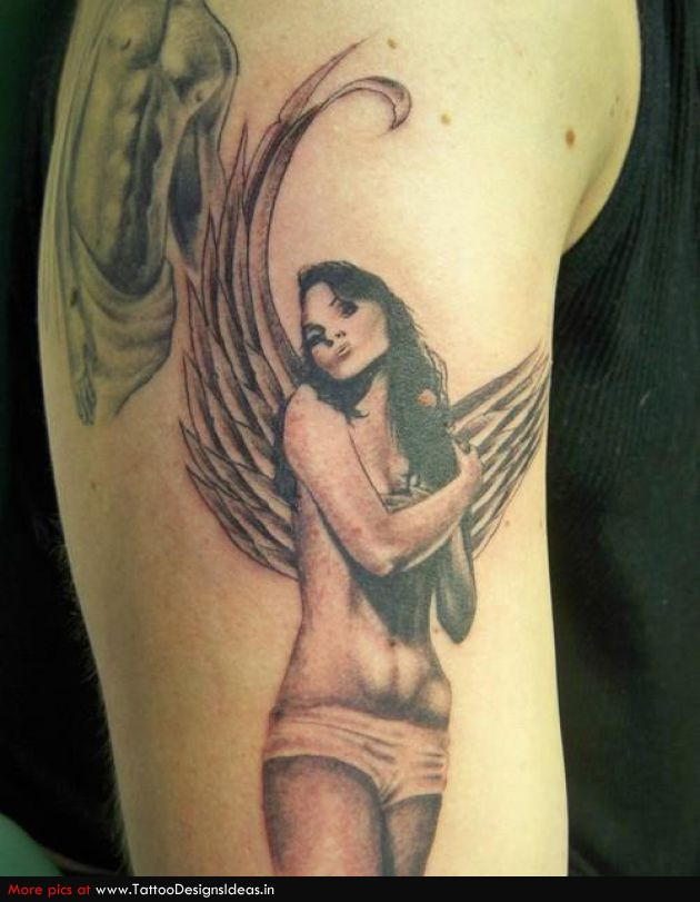 Coolest Green And Black Color Ink Angel Girl Tattoo Design On Biceps For Boys