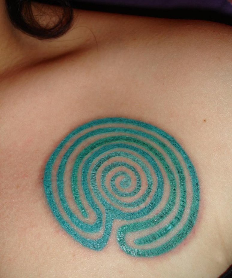 Coolest Green And Blue Color Ink Circles Tattoo Design For Girls