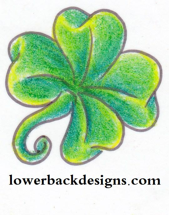 Coolest Yellow Black And Green Color Ink Four Leaf Clover Tattoo Design For Girls