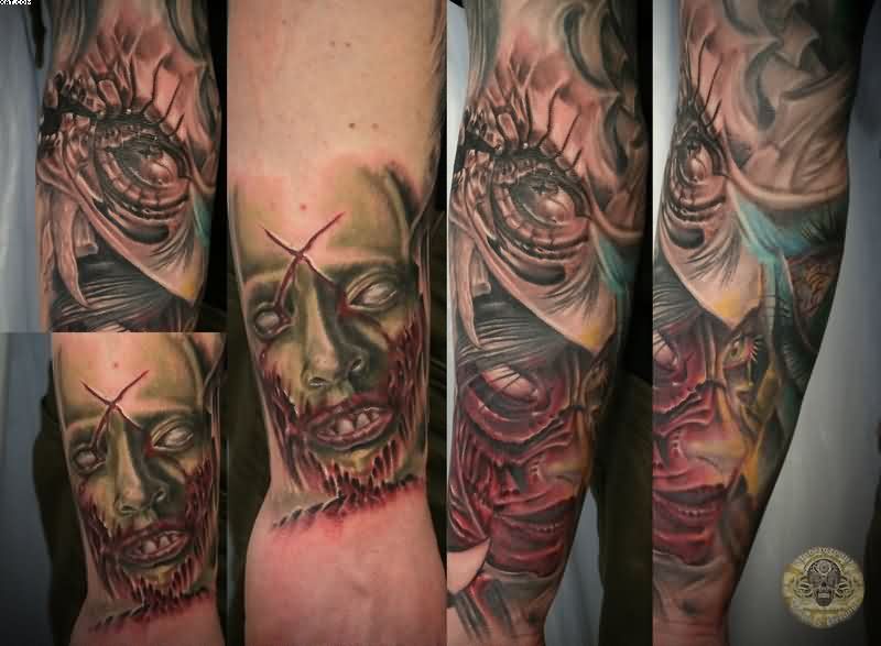 Coolest Zombie Bloody Face Eye Tattoos On Arm With Colorful Ink