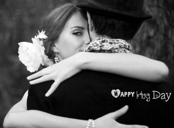Couple Hugging Happy Hug Day Wishes Image