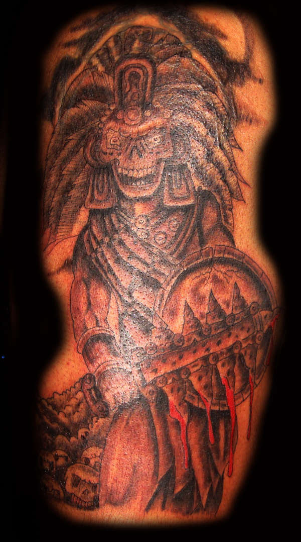 Crazy Black And Red Color Ink Aztec Skull Warrior Tattoo For Boys