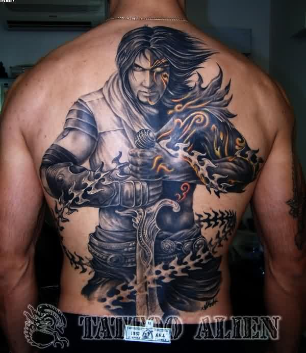 Crazy Black Color Ink Fighter Alien Tattoo Design On Boy's Back