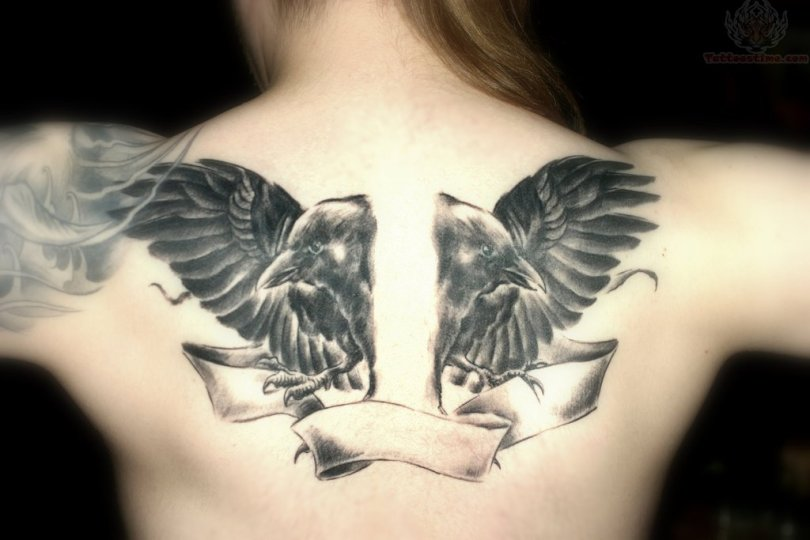 Crazy Black Color Ink Twin Crow And Banner Tattoos On Upperback For Girls