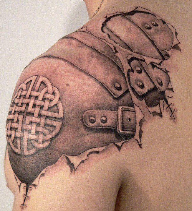 Crazy Black Grey Color Ink Biomechanical Tattoo Design For Shoulder For Boys