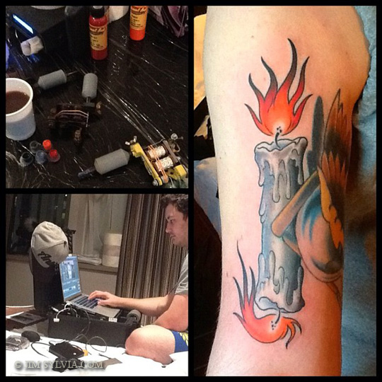 Crazy Blue Black And Red Color Ink Candle Burning At Both Ends Tattoo Picture For Boys