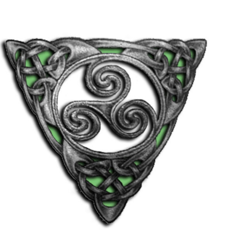 Crazy Green And Black Color Ink Celtic Tattoo Design For Boys