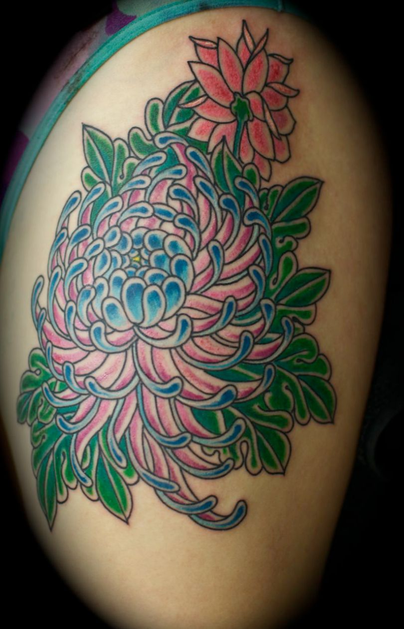 Crazy Green Red And Black Color Ink Chrysanthemum Tattoo Design For Girls