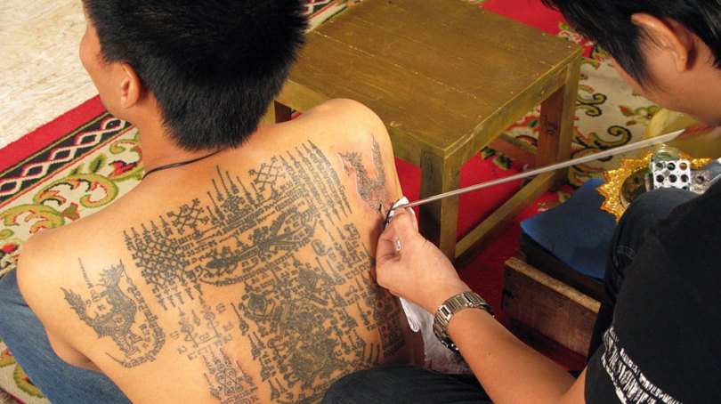 Crazy Grey Color Ink Buddhist Tattoo Design On Back For Boys