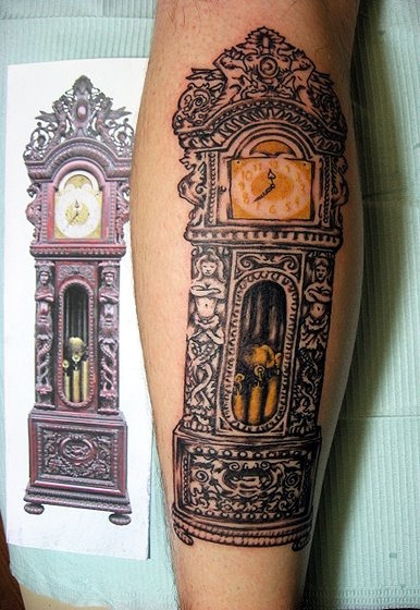 Crazy Red And Black Color Ink Tumblr Grandfather Clock Tattoo For Girls
