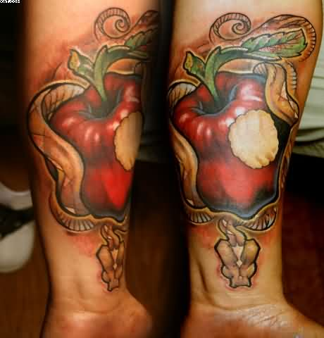 Crazy Red And Green Color Ink Bitten Apple Tattoo On Arms For Boys