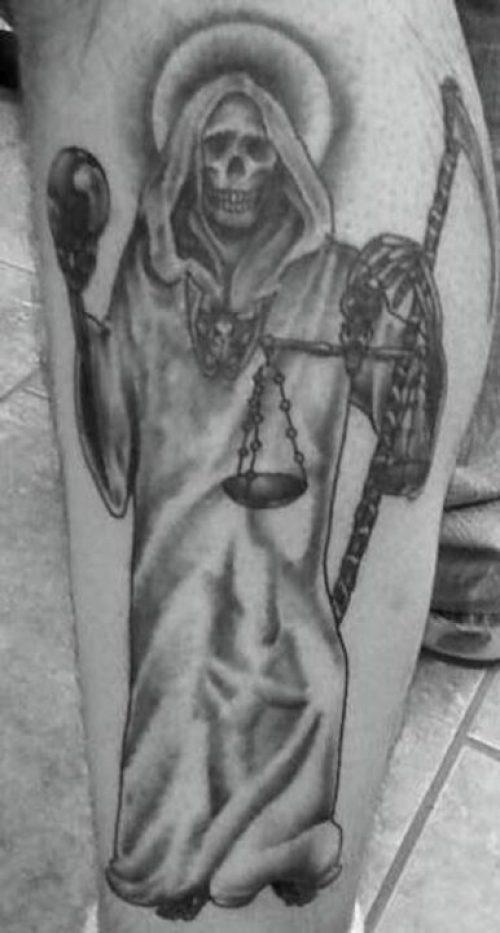 Creative Black Color Ink God Of Death Tattoo Design For Boys