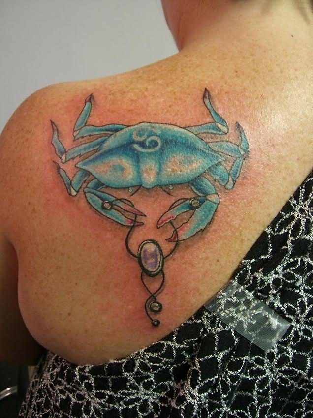 Creative Blue Red And Black Color Ink Crab Tattoo On Back Shoulder For Girls