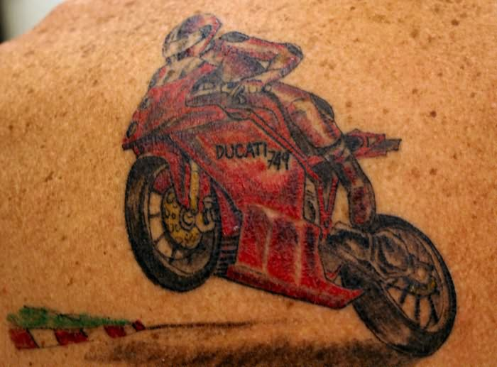 Creative Red And Black Color Ink Ducati Racing Bike Tattoo Design For Boys
