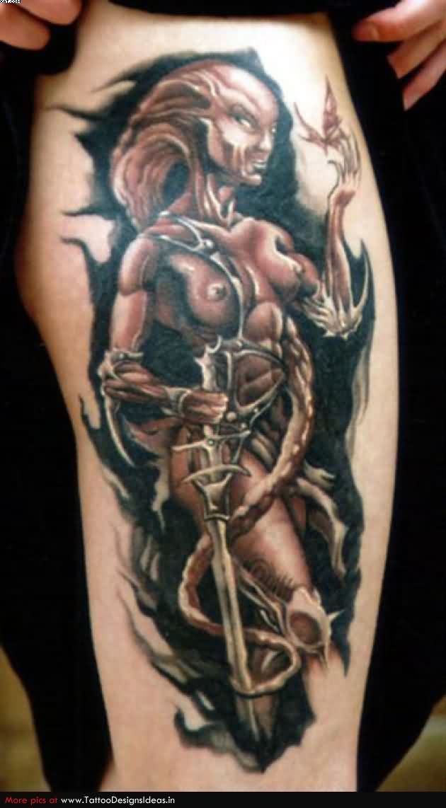 Creative Red And Black Color Ink Fighter Alien Woman Tattoo Design On Thigh For Girls