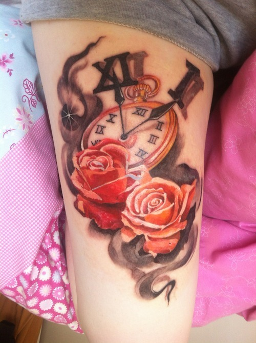 Creative Red And Black Color Ink Flames Clock And Rose Tattoos On Thigh For Girls