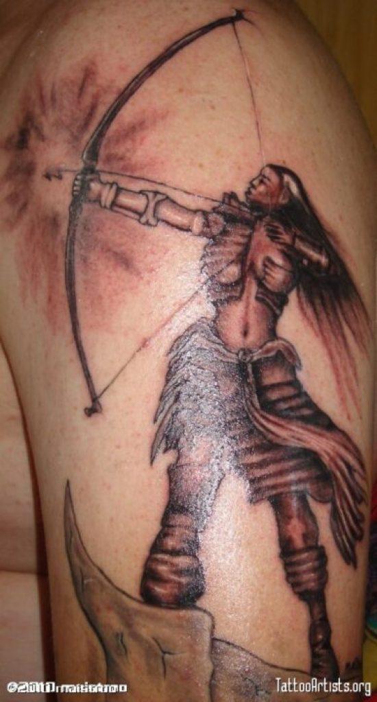 Custom Black And Red Color Ink Asian Archer Tattoo Design On Shoulder For Boys