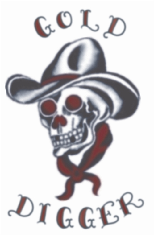 Custom Black And Red Color Ink Vintage Cowboy Skull Tattoo Sample For Girls