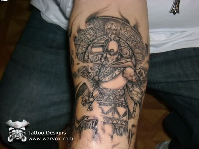 Custom Black Color Ink Aztec Warrior Tattoo On Arm For Boys