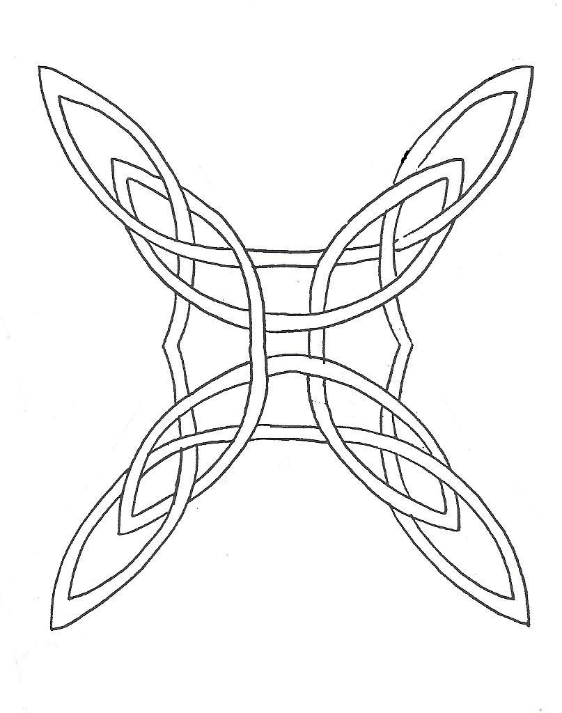 Custom Black Color Ink Celtic Tattoo Sample For Girls With White Background