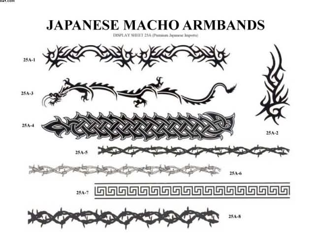 Custom Black Color Japanese Macho Armbands Tattoo Designs For Tattoo