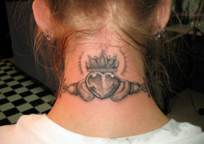 Custom Grey Color Ink Claddagh Tattoo On Back Neck For Girls