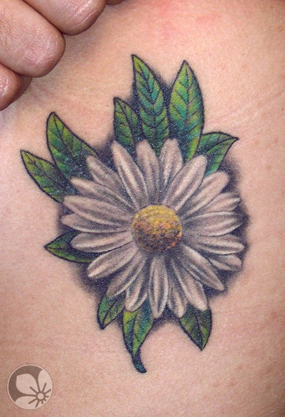 Custom White Green And Yellow Color Ink Daisy Tattoo For Boys