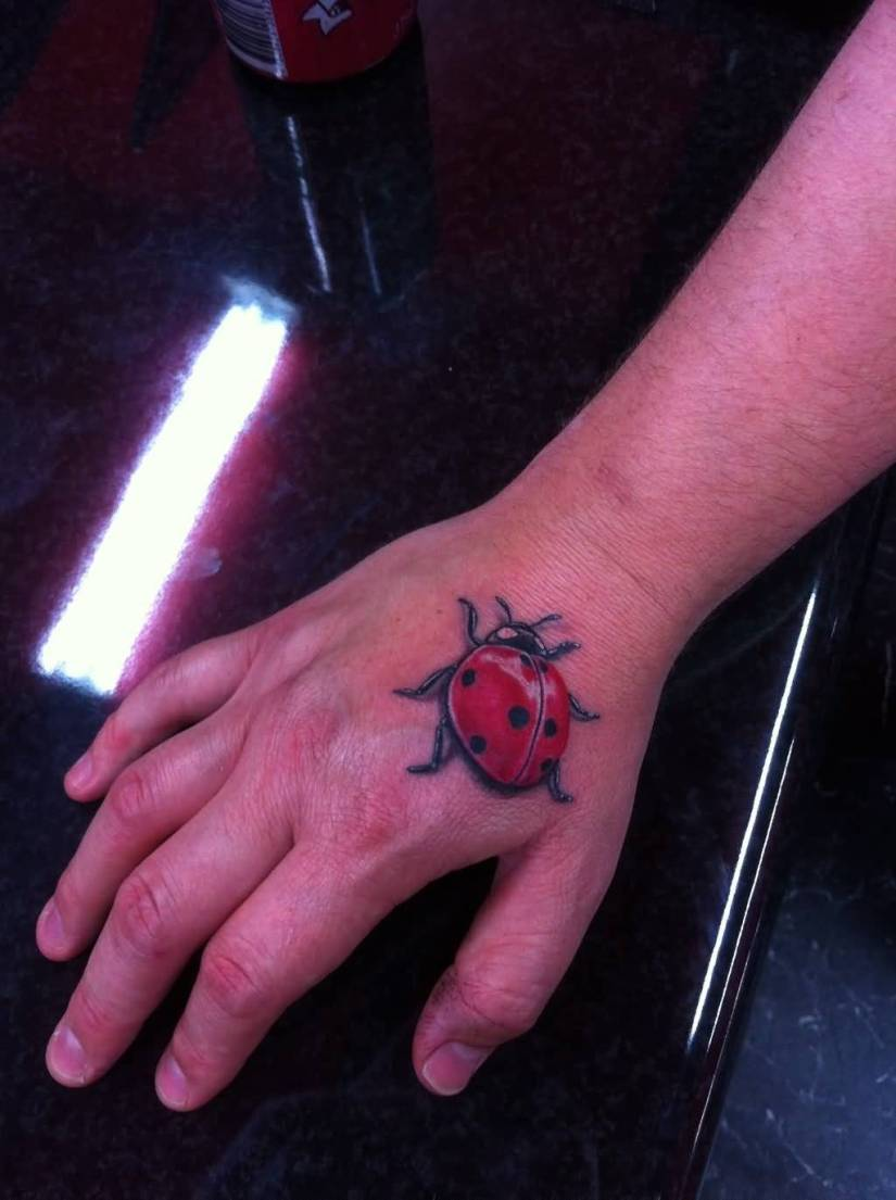 Cute Black And Red Color Ink Lady Beetle Bug Tattoo Design On Hand For Boys