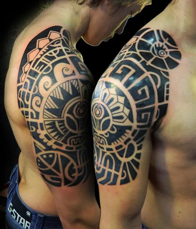 Cute Black Color Ink Aztec Half Sleeve Tattoo For Boys On Shoulder