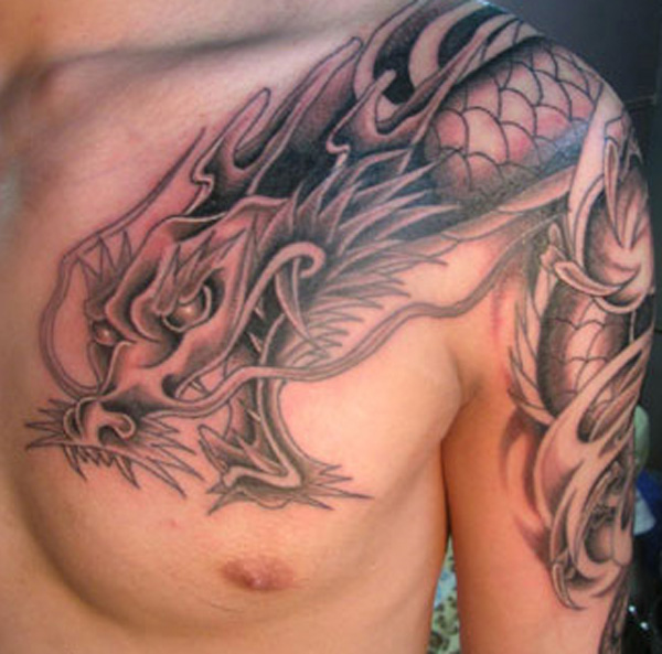 Cute Black & Grey Color Ink Chinese Dragon Tattoo Design For Boys