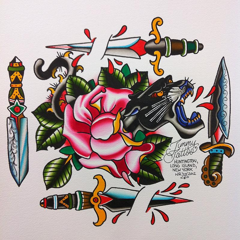 Cute Blue Green Red And Black Color Ink Panther Rose n Dagger Tattoo Designs For Boys