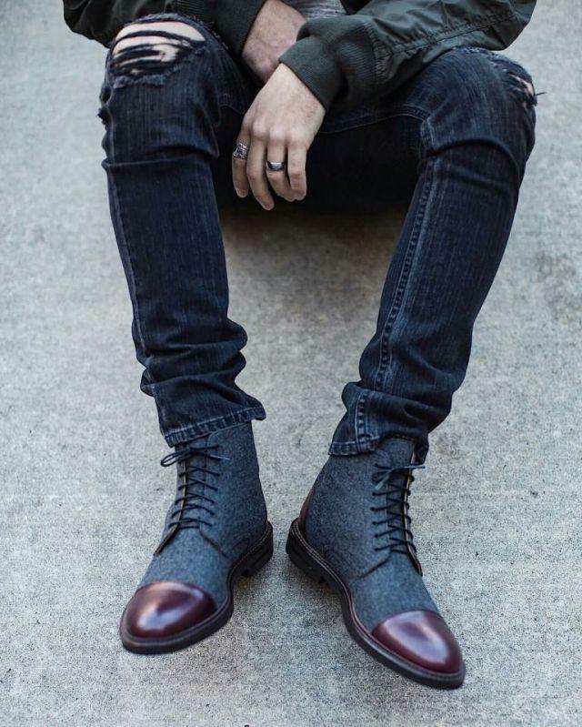 Dark Grey Polished High Neck Shoe For Men