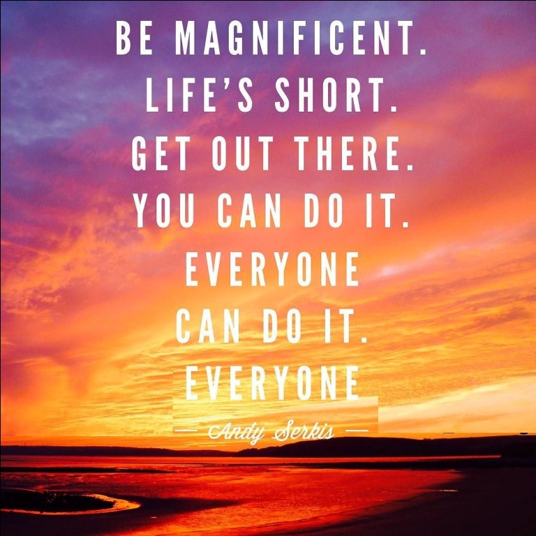 Do Sayings Be magnificent. Life's short. Get out there. You can do it. Everyone can do it. Everyone. Andy Serkis