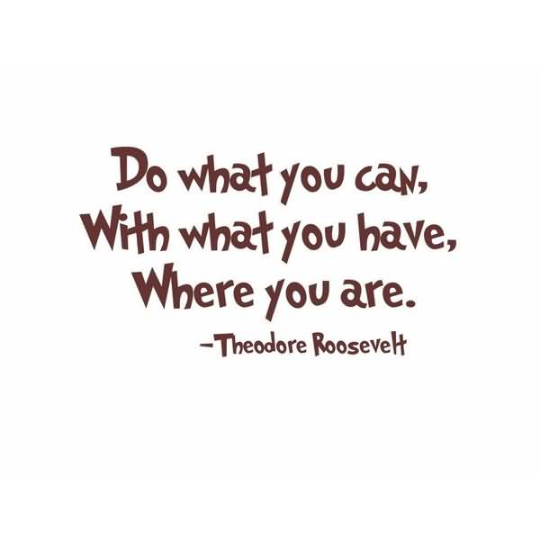 Do Sayings Do what you can with what you have where you are Theodore Roosevelt